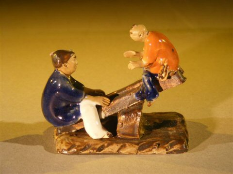 Image: Ceramic Figurine Two Boys on a See-Saw