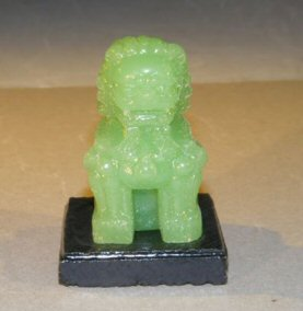 Image: Miniature Glass Chinese Foo Lion with Wooden Stand