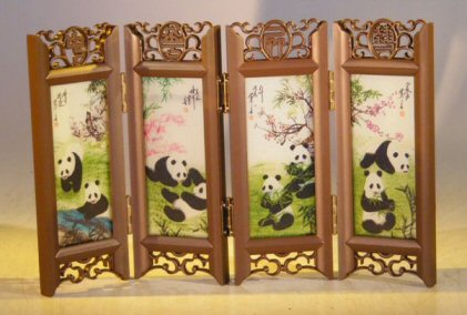 Image: Mini Shoji Screen  With Glass Framed Pictures of Panda Bears on Both Sides