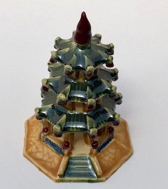 Image: Glazed Ceramic Pagoda Figurine