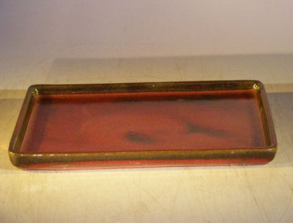 Image: Ceramic Humidity/Drip Bonsai Tray - Parisian Red Rectangle 7.0 x 5.25 x 0.5 Tall