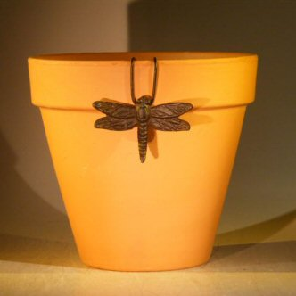 Image: Cast Iron Hanging Garden Pot Decoration -  Dragonfly 3.25 Wide x 2.25 High