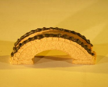 Image: Miniature Ceramic Bridge Figurine 2.75 x .05 x 1.0 Tall