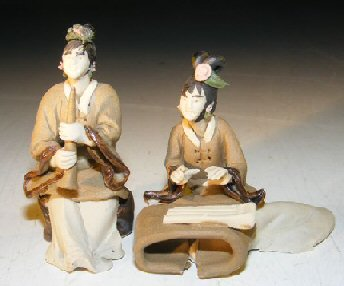 Image: Ceramic Miniature Mud Figurine - Two Women Playing Instruments
