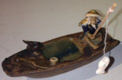Image: Miniature Chinese Boat Figurine with Fisherman