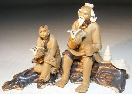 Miniature Ceramic Figurine Father & Son Sitting on a Log Reading Books in Fine Detail