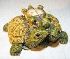 Miniature Turtle Figurine Three Turtles - With Baby Turtle on Back