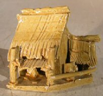 Glazed Miniature Ceramic Figurine - Double Hut 2.25 x 1.5 x 2.0
