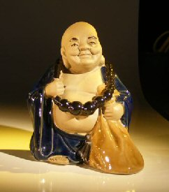 Lucky Buddha Glazed Figurine