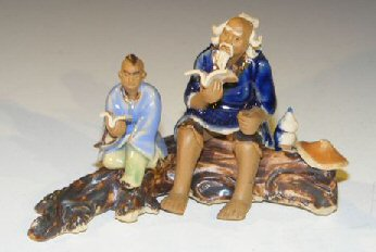 Miniature Ceramic Figurine Father & Son Sitting on a Log Reading Books Fine Detail