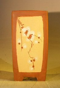 Unglazed Cascade Bonsai Pot with Floral Etching3.25 x 3.25 x 6.0 Image