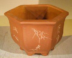 Unglazed Bonsai Pot with Etching and Raised Feet 7 x 8 x 5