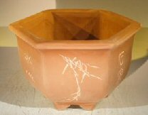 Unglazed Bonsai Pot with Etching and Raised Feet 9 x 11 x 6