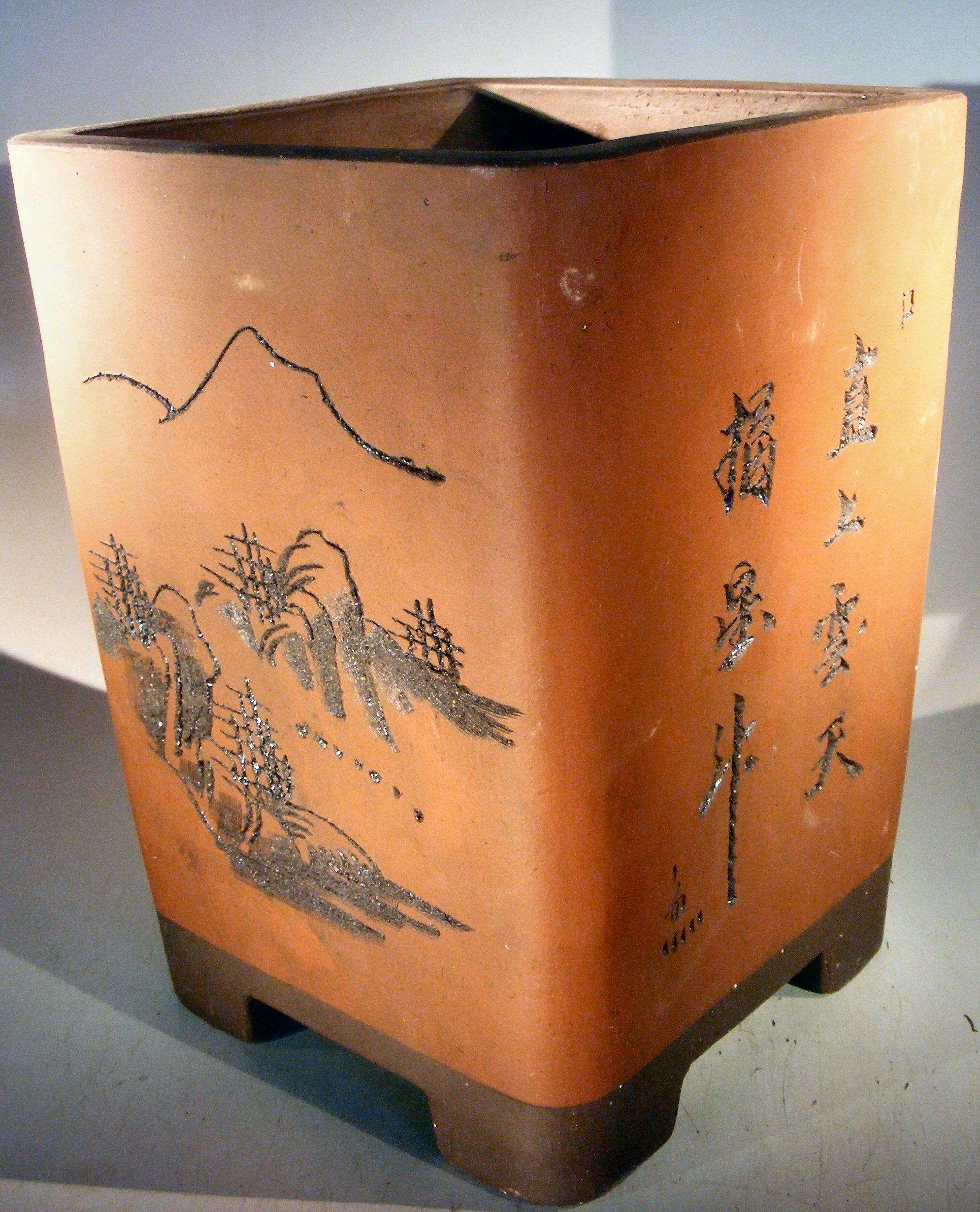 Unglazed Cascade Bonsai Pot With Floral Etching 9 X 9 X 12 25 Od 7 5 X 7 5 X 10 5 Id