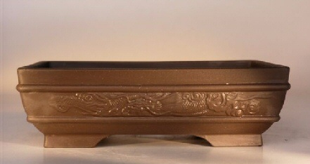 "Ceramic Bonsai Pot Houtoku Glazed Rectangle - Dragon 11.5""x8.5""x3.5"""