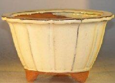 Image: Ceramic Bonsai Pot -  Round Fluted shape -  7.75 x 4.5