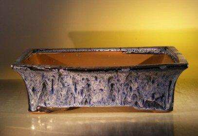 Marble Blue Ceramic Bonsai Pot - Rectangle <br><i>12.0 x 9.5 x 3.4 </i>