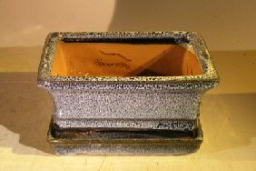 Marble Blue Ceramic Bonsai Pot - RectangleProfessional Series with Attached Humidity/Drip tray6.37 x 4.75 x 2.625 Image