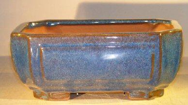 Blue Ceramic Bonsai Pot - Rectangle Professional Series 10 x 8 x 4  Image