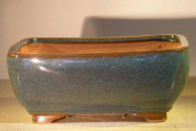 Dark Moss Green Ceramic Bonsai Pot - Rectangle Professional Series10 x 8 x 4 Image