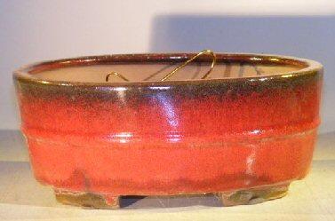 Parisian Red Ceramic Bonsai Pot - Oval Professional Series 10 x 8 x 4 Image
