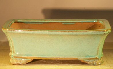 Image: Ceramic Bonsai Pot Rectangle - Light Green Color 8.0 x 6.0 x 2.5 Tall