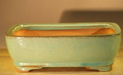Image: Ceramic Bonsai Pot Rectangle - Creamy Blue / Green Color 8.0 x 6.0 x 2.5 Tall