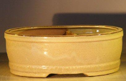 Beige Ceramic Bonsai Pot  Land/Water Divider 10 x 8 x 3.75 Image