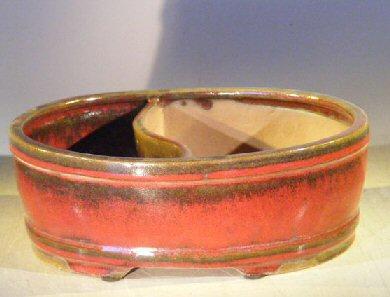 Parisian Red Ceramic Bonsai Pot - Oval Land/Water Divider 10 x 8 x 3.75 Image