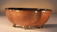 Image: Round Petal Shape - Glazed Aztec Orange 8.25x6.5x3.25