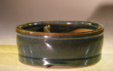 Image: Ceramic Bonsai Pot - Land/Water with Divider 6.25 x 5.25 x 2.5