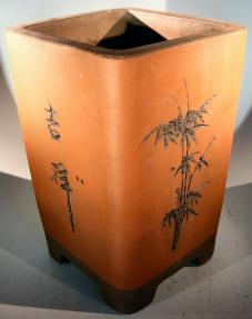 Unglazed Cascade Bonsai Pot with Floral Etching <br><i>7
