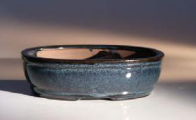 Blue Ceramic Bonsai Pot - Oval <br> Land/Water Divider <br><i>7.75