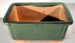 Green Ceramic Bonsai Pot - Rectangle <br><i> 8.5