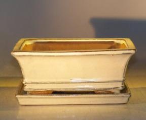 Beige Ceramic Bonsai Pot - Rectangle<br>With Attached Humidity/Drip tray<br><i>8.5
