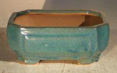 Blue/Green Ceramic Bonsai Pot - Rectangle <br><i>6.125