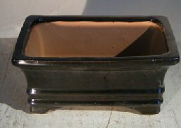 Black Ceramic Bonsai Pot - Rectangle <br><i>6.125