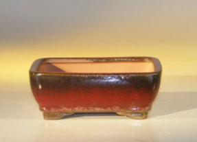 Parisian Red Ceramic Bonsai Pot - Rectangle <br><i>6.125