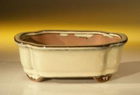 Beige Ceramic Bonsai Pot - Rectangle <br><i>6.125