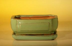 Light Green Ceramic Bonsai Pot - Rectangle <br>Professional Series with Attached Humidity/Drip tray<br><i>6.37