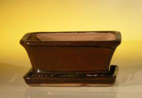 Dark Red Orange Ceramic Bonsai Pot  - Rectangle <br>Professional Series With Attached Humidity/Drip Tray <BR>6.37