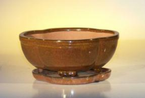 Aztec Orange Ceramic Bonsai Pot - Lotus Shape<br>Professional Series with Attached Humidity/Drip tray<br><i>8.5
