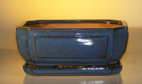 Blue Ceramic Bonsai Pot - Rectangle <br>Professional Series with Attached Humidity/Drip tray <br><i>10.75