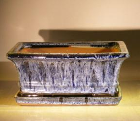 Marble Blue Ceramic Bonsai Pot - Rectangle<br>With Attached Humidity/Drip tray<br><i>8.5