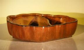Aztec Orange Ceramic Bonsai Pot - Oval with Scalloped Edges - Land/Water Divider <br><i> 9.5
