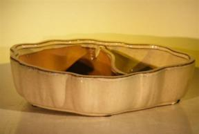 Biege Ceramic Bonsai Pot - Oval<br>Land/Water  with Scalloped Edges<br><i>9.5