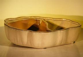 Beige Ceramic Bonsai Pot - Oval<br>Land/Water with Scalloped Edges<br><i>12