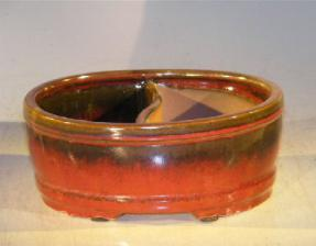 Parisian Red Ceramic Bonsai Pot - Oval <br> Land/Water Divider<br><i>8.0
