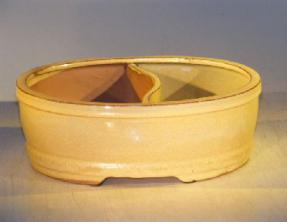 Beige Ceramic Bonsai Pot - Oval<br>Land/Water Divider<br><i>8.0