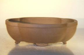 Tan Unglazed Ceramic Bonsai Pot - Lotus Shape<br><i>8
